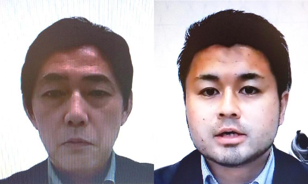 スポーツ工学研究所の原野所長(左)と猪股氏