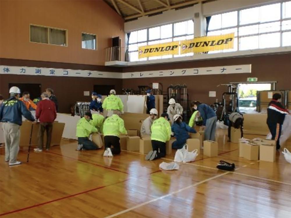 段ボールベッド設営訓練
